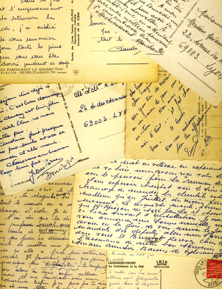 French postcard writing
